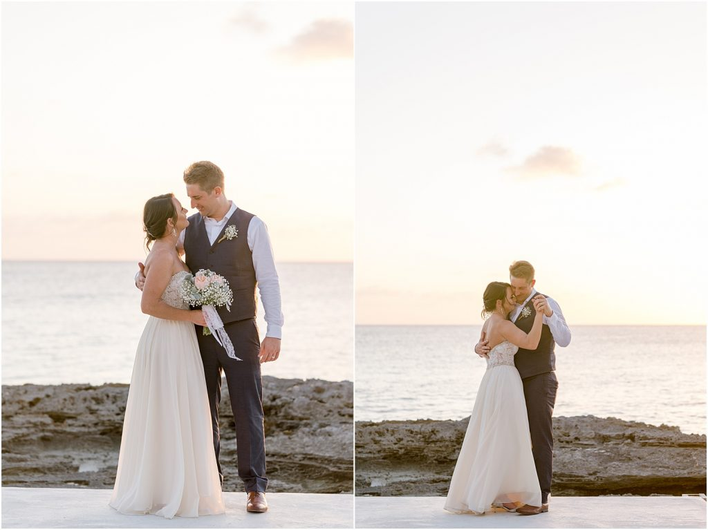 bride and groom sunset shot