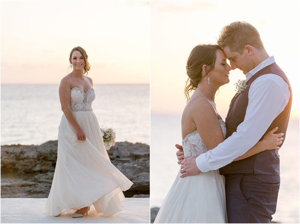 Grand Cayman Family Wedding bride and groom sunset shot