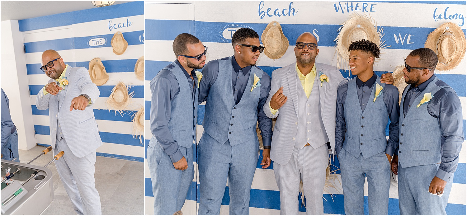 groom and groomsmen grey and navy suits