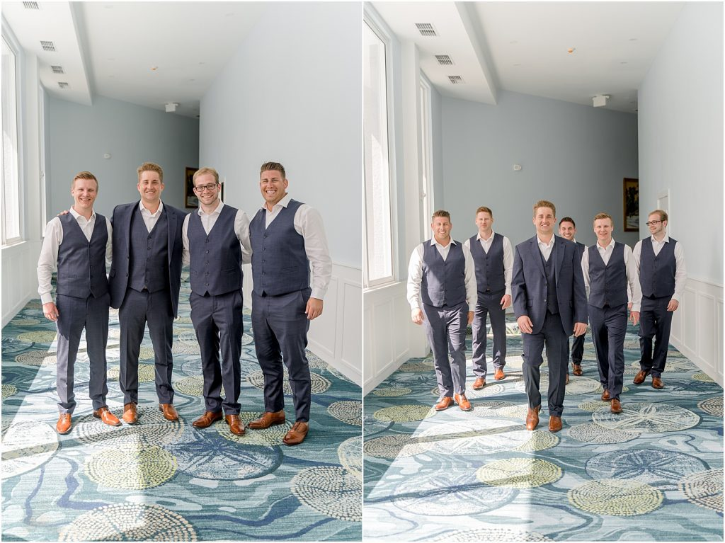groom and groomsmen, navy suits