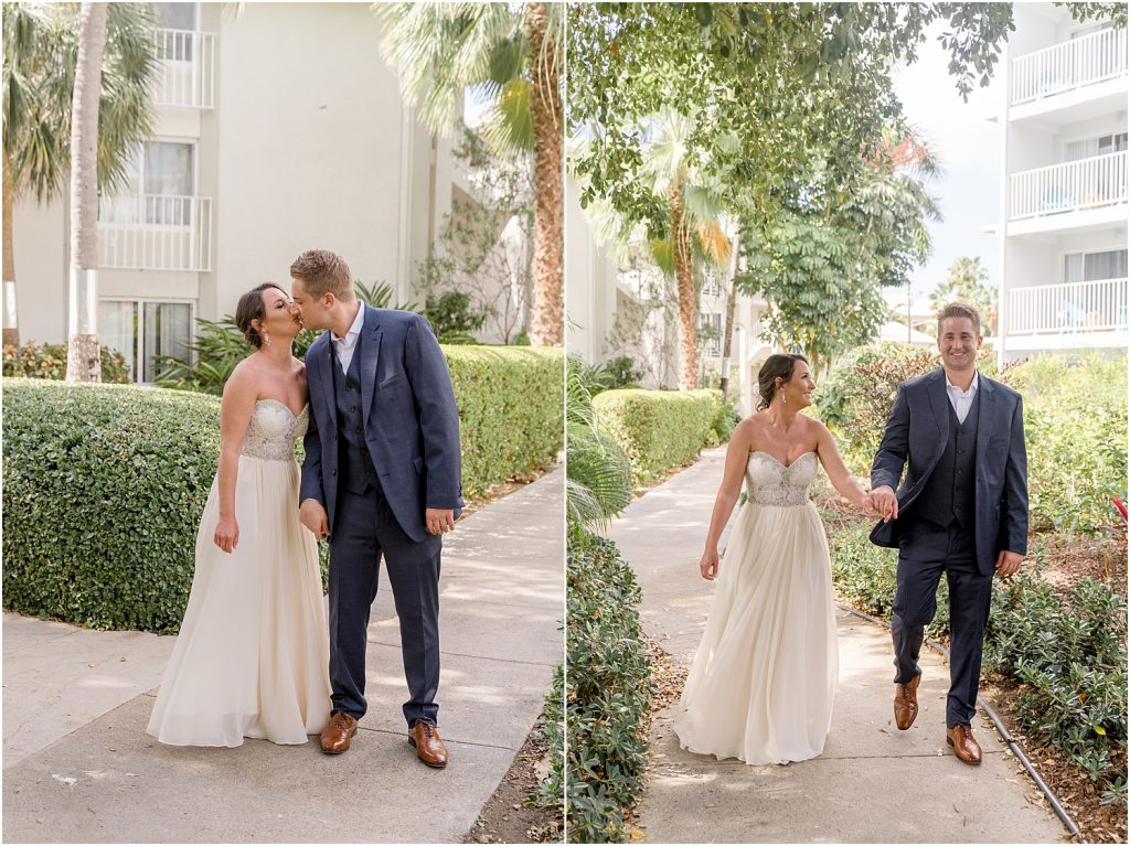 first look, winnie couture wedding dress, navy suit