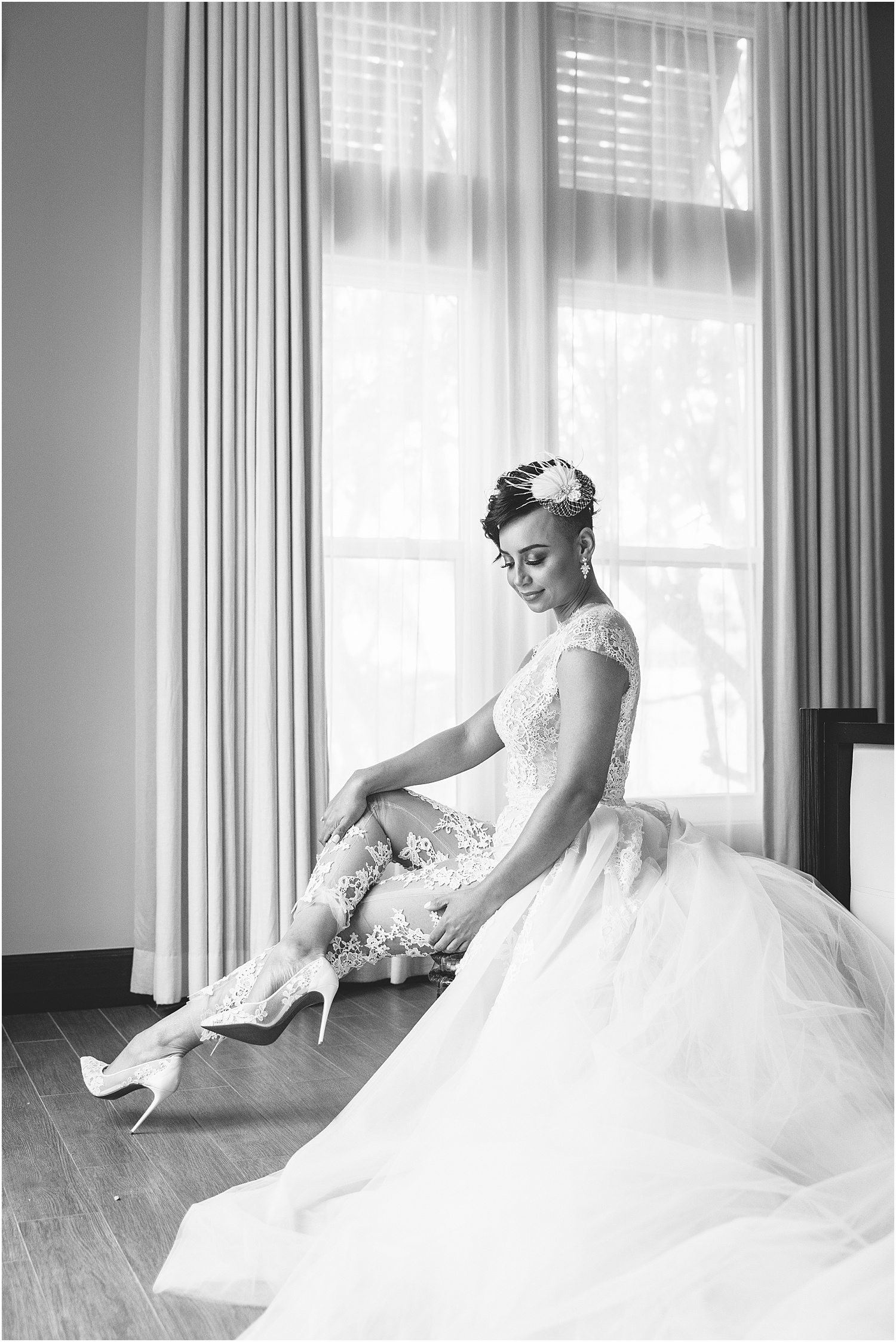 black and white, bride getting ready at Sea Orchard Retreat